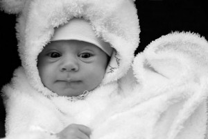 Newborn Baby In Winter